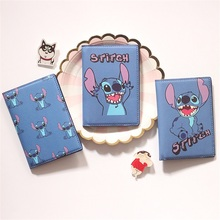 Passport-Cover Business-Card-Case Travel Cartoon Blue PU for Men Function with 3-Card-Holder