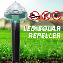 Solar Mole Rodent Repellent Ultrasonic Rat Pest Repeller for Outdoor Orchard and Garden with Diamond Light