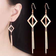 Dangle silver gold color metal Elegant Earrings Long Design Tassel Drop Earrings 1pair Geometric Earrings For Women Jewelry