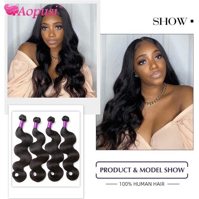 Aopusi Body Wave Brazilian Hair Weave Bundles 100% Human Hair Weave Long Bundles For Women Remy Human Hair Extensions 1/3/4/ pcs|Hair Weaves|   -