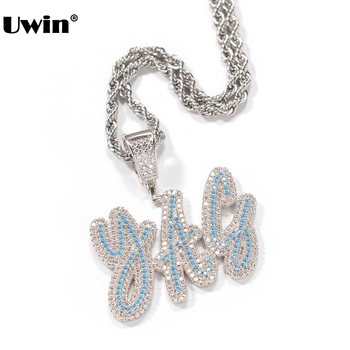 Uwin Customized Name Necklace Double Layer Cursive Script Bule/White CZ Letters Pendant Iced Out Pendant Drop Shipping n090612 21 white keshi pearl necklace cz pendant