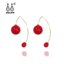DREJEW Big Small Red White Pearl Statement Earrings 2019 925 Long Tassel Drop Sets for Women Fashion Jewelry HE908