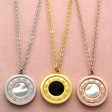 Fashion Rose Gold Necklace Roman Numerals Black/white Shell Rotatable Pendant Necklaces Chain Turnable Stainless Steel Jewelry