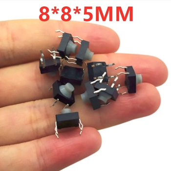 100pcs  8*8*5 8*8*5mm 8*8 4pin conductive rubber head waterproof dustproof touch switch silent button silicone micro move