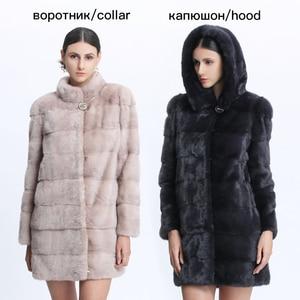 Image 2 - Véritable fourrure vison manteau femmes hiver vison manteaux femme naturel fourrure manteau véritable vison fourrure veste dames surdimensionné détachable Long noir
