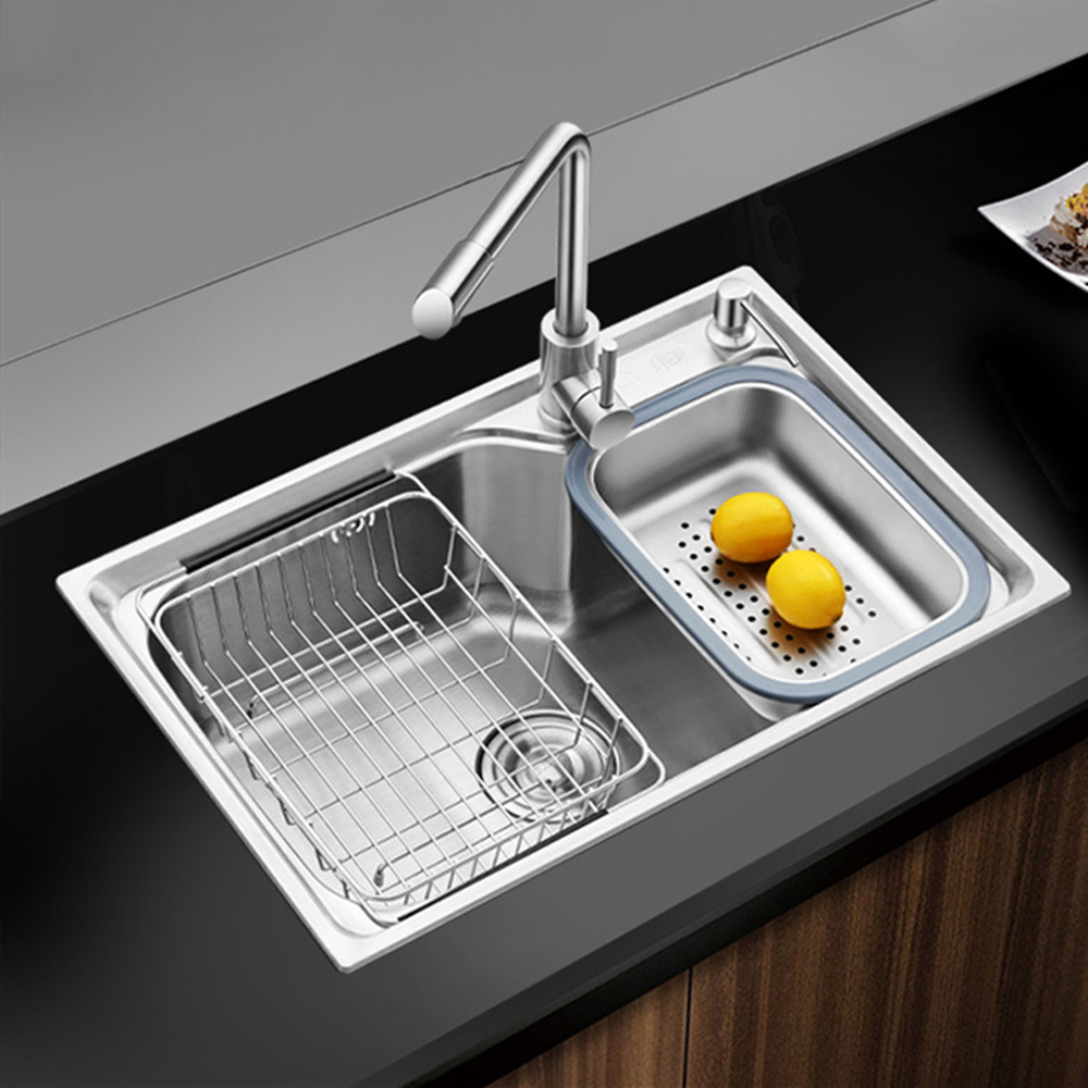 Thickness Stainless Steel Kitchen Sink Above Counter Brushed Single Bowel Kitchen Sink Basket With Soap Dispenser Sink Filter