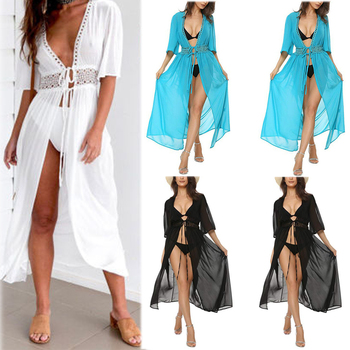 Summer New 3 Color Fashion Sexy Bikini Cover Up Women Beach Dress Swimwear Chiffon Plus Size Bathing Suit Maxi Dress Cardigan sexy tight fitting package hip vogue chic new 2017 beach bikini large size swimwear 11 color select