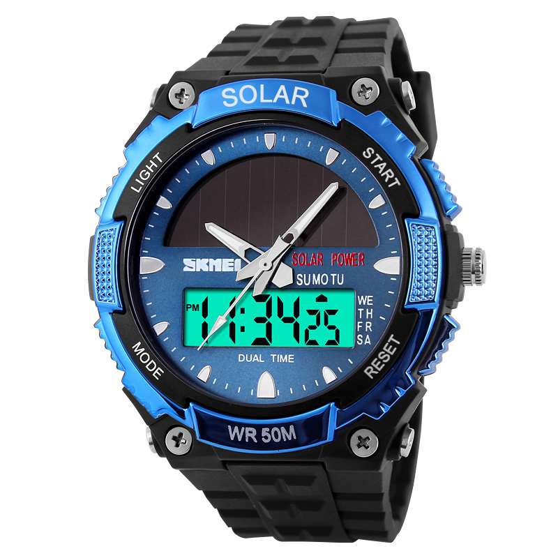 SOLAR POWER Watches Men Military Sports Watches <font><b>SKMEI</b></font> LED Digital Quartz Watch 5ATM Waterproof Multi-function Watch reloj hombre image