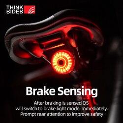 ThinkRider  Cycling Taillight Bicycle Smart Auto Brake Sensing Light IPx6 Waterproof LED Charging Bike Rear Light