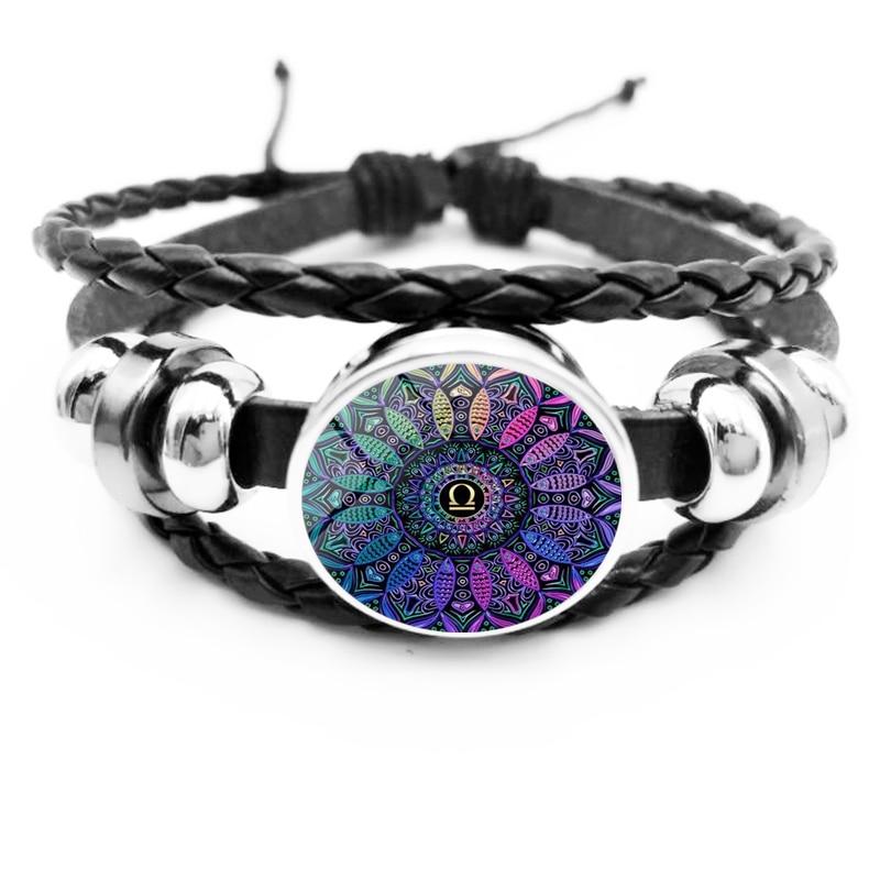 2019 New Mandala 12 Constellation Bracelet Kaleidoscope Glass Figure Round Men 39 s Black Bracelet Gift in Charm Bracelets from Jewelry amp Accessories
