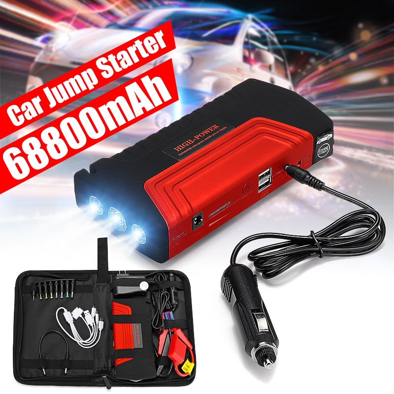 Car Jump Starter 68800mAh 12v 600A High Power Power Bank Auto Battery Booster Emergency Charger Starting Device With LED Light