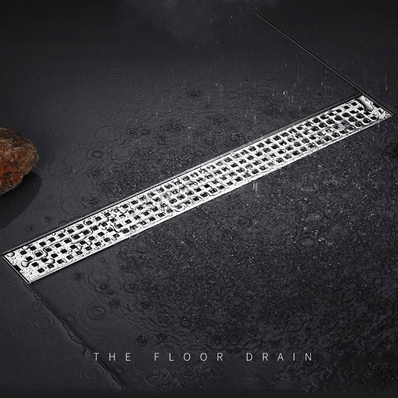 Modun Bath Shower Drain Floor Caniveau Douche Square Cover Drains Long Linear Drainage Channel Drain For Floor Drain Strainer