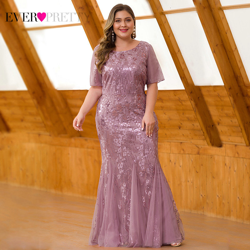 Mermaid Evening Dresses Plus Size Ever Pretty Sequined Short Sleeve O-Neck Sexy Formal Dresses Evening Party Gowns Lange Jurken