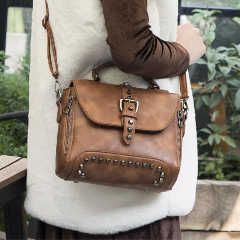 2019 New High Quality Rivet Bags Totes Women PU Leather Handbags Crossbody Women Shoulder Bags