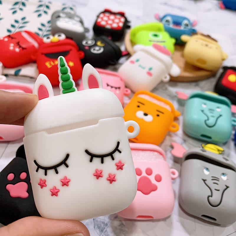 Cartoon Cute Wireless Bluetooth Headset Case For Apple Airpods 1 2 Box Earphone Soft Silicone Cover For Airpods Protective Cases