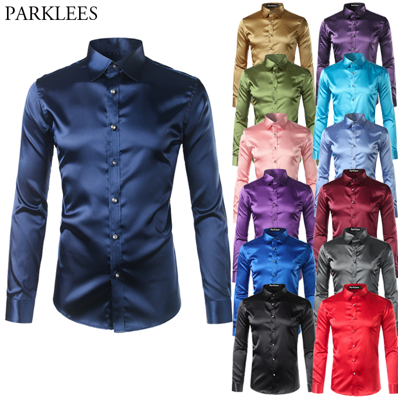 High Quality Silk Satin Shirt Men Chemise Homme 2017 Casual Long Sleeve Slim Fit Mens Dress Shirts Business Wedding Male Shirt