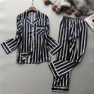 Image 1 - Lisacmvpnel Fashion Women Vertical Stripe Rayon Pajama Set Loose Leisure Spring Pajamas