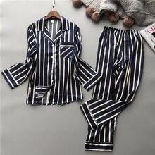 Lisacmvpnel Mode Frauen Vertikale Streifen Rayon Pyjama Set Lose Freizeit Frühling Pyjamas
