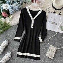 купить fashion vintage Women's Clothing spring knitted v-neck elegant dress chic vestidos femininos New Package hip bodycon dresses по цене 798.58 рублей