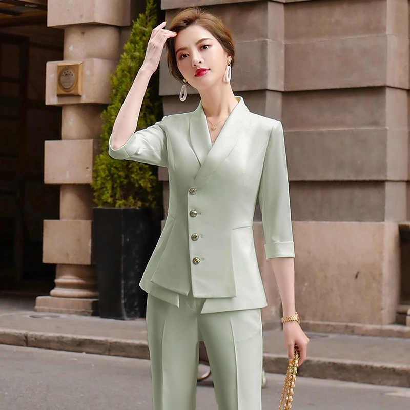 Alta qualidade casual calças terno feminino duas peças conjunto 2020 novo verão senhoras elegantes blazer branco jaqueta traje de negócios