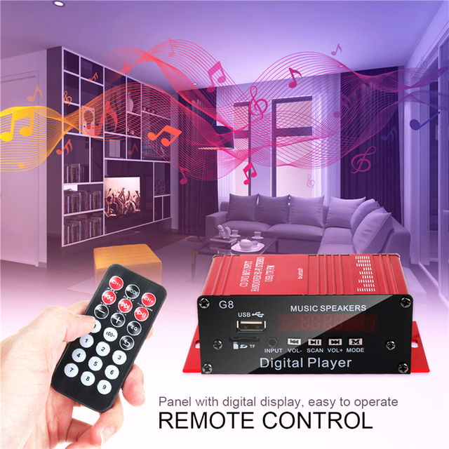 200W 2CH 12V Car Home Stereo Audio   Bluetooth FM Radio Power  with Remote Control Home Amplifiers