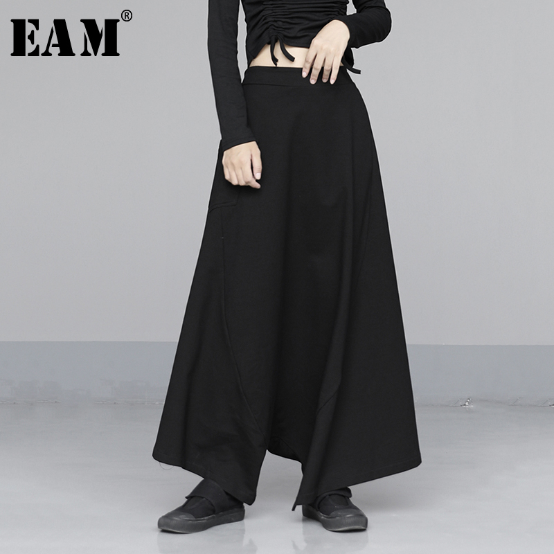 [EAM] High Elastic Waist Black Striped Long Wide Leg Trousers New Loose Fit Pants Women Fashion Tide Spring Autumn 2020 1N561