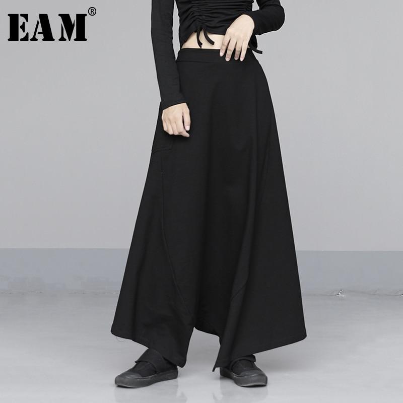 [EAM] High Elastic Waist Black Striped Long Wide Leg Trousers New Loose Fit Pants Women Fashion Tide Spring Autumn 2020 1N561