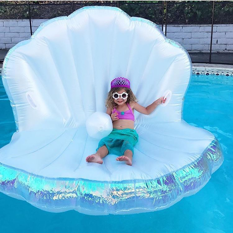 Newest Giant Pool Float Shell Pearl Scallops Inflatable Funny Aquatic Toy Adult Kids Air Mattress Swim Life Buoy For Swimming