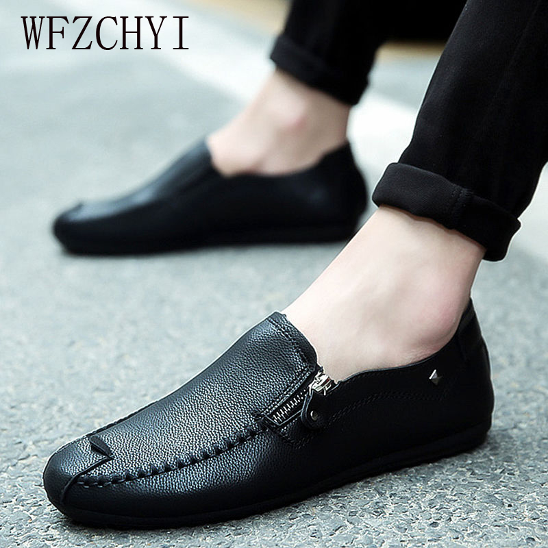 Men's Casual Shoes Breathable Leather Flats Loafers High Quality Classic Wild Men's Driving Flat Shoes Men's Shoes Sneakers