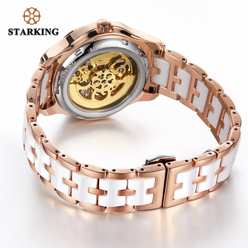STARKING 34mm Automatic Watch Rose Gold Steel Case Vogue Dress Watches Skeleton Transparent Watch Women Mechanical Wristwatches 6