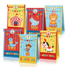 Cartoon Circus Animals Candy Bags Carnival Party Decorations Happy Birthday Gifts Paper Bags Animal Stickers Kids Party Favors