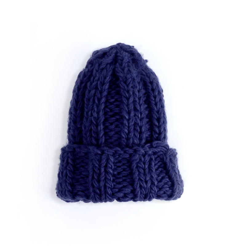 Women Winter Knitted Beanies Hat Thick Soft Warm Coarse Large Knitted Solid Hat Female Ice Ski Bonnet Skullies Beanies Hat Cap 76
