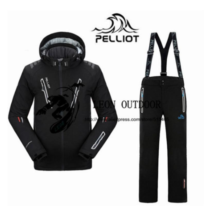2019 New Pelliot Male Ski Suits Jacket+Pants Men's Water-proof Breathable TThermal Cottom-padded Snowboard Suit Men Ski Jacket
