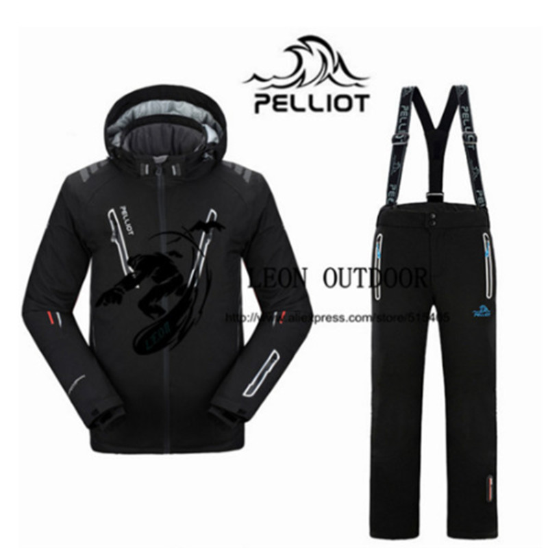 2019 New Pelliot Male Ski Suits Jacket+Pants Men's Water-proof Breathable TThermal Cottom-padded Snowboard Suit Men Ski Jacket