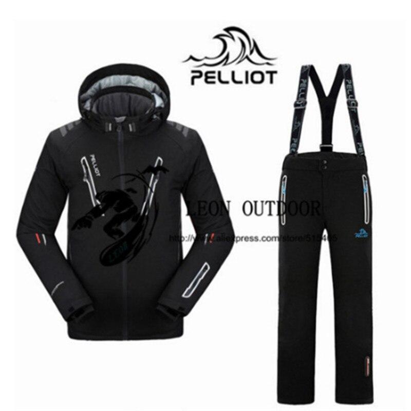 Ternos Jacket + Calças dos homens de Esqui Pelliot Masculino à prova de Água-, TThermal Cottom acolchoado-Terno do Snowboard do Esqui Dos Homens respirável Jaqueta