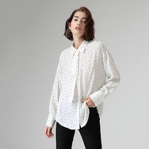 Image 5 - Toyouth chemisier et chemises en mousseline de soie à pois, col rabattu, manches longues pour femmes, automne décontracté