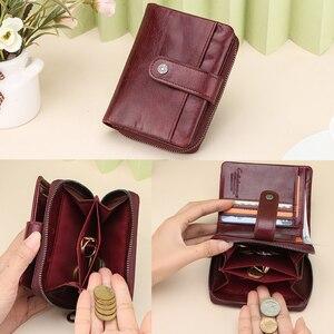 Image 4 - Genuine Leather Women Wallet Female Clutch Small Ladies Wallets Portomonee Rfid Luxury Brand Money Bag Magic Zipper Coin Purse
