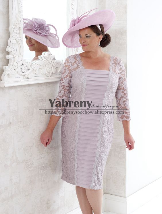 Knee-length Lace Plus Size Mother Of The Bride Dress