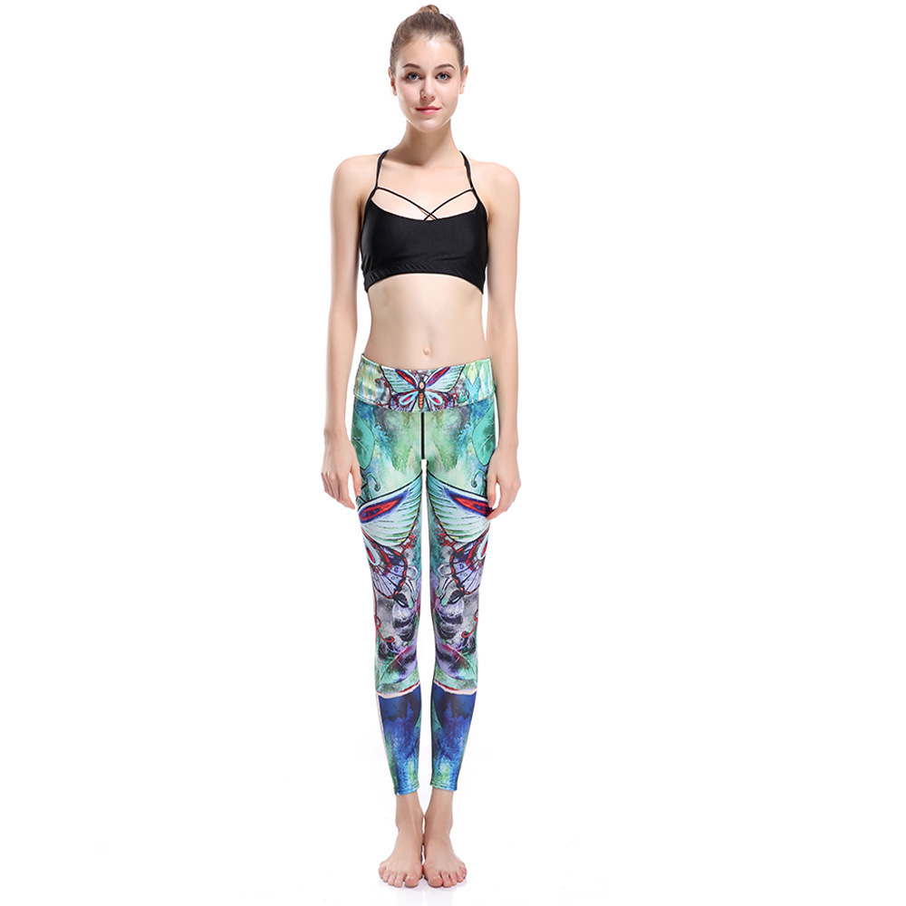 2018 New Women Workout Pants Skinny Slim Fitness Leggings Clothes High Waist Printing Cotton Leggings