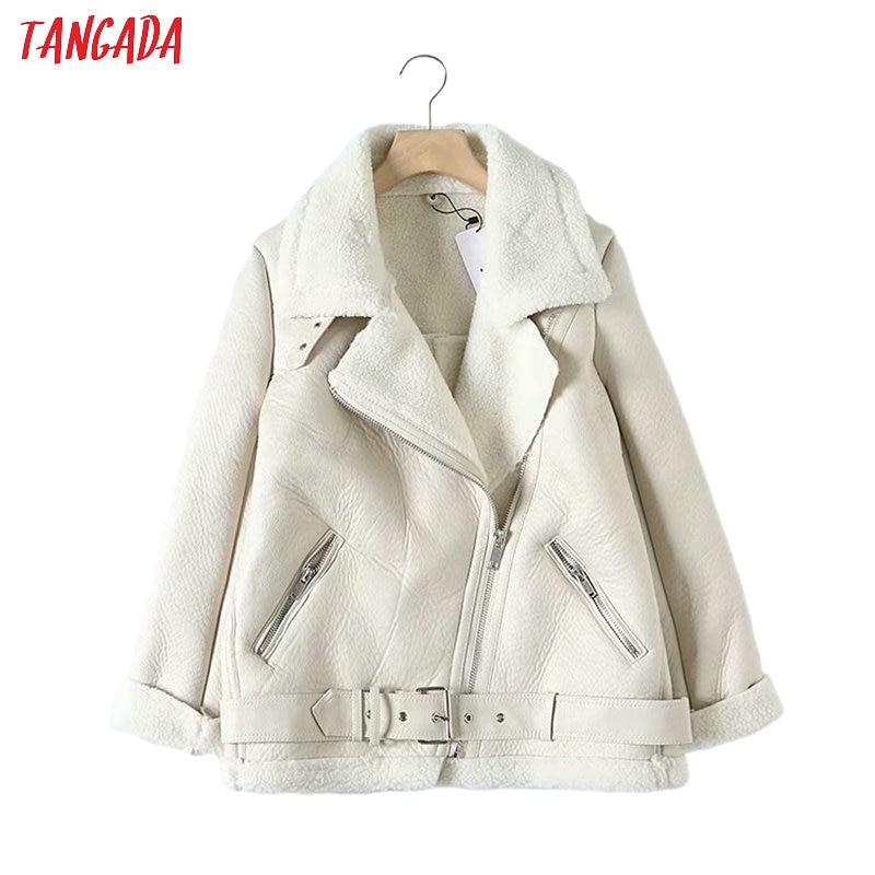 Tangada Women beige fur faux leather jacket coat with belt turn down collar Ladies 2019 Winter Thick Warm Oversized Coat 5B01(China)