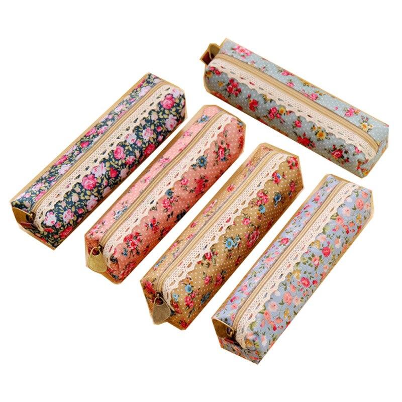 1 pçs bonito caneta sacos kawaii floral flor lona zíper lápis casos linda flor tecido caneta sacos escola & escritórios suprimentos