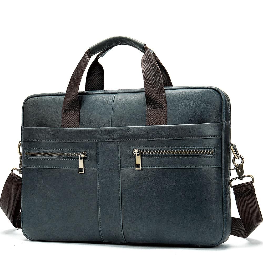 Westal Men's Briefcase Bag Men's Genuine Leather Laptop Bag Business Tote For Document Office Portable Laptop Shoulder Bag 2020