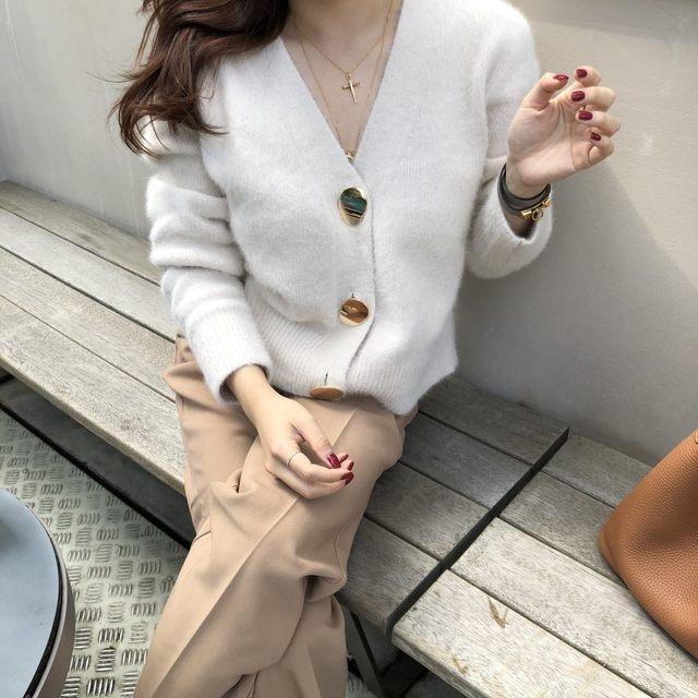 Mooirue Autumn Women Soft White Knitted Cashmere Sweater Double Button Women Warm Jumper V-Neck Winter Sweater 40