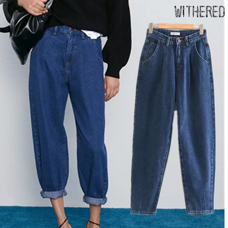 Withered England Vintage Mom Jeans Woman High Waist Jeans Pleated Jean For Women Boyfriend Loose Harem Jeans For Women Plus Size