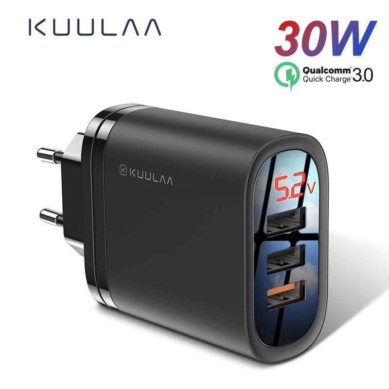 KUULAA Quick Charge 3,0 USB Ladegerät 30W QC3.0 QC Schnelle Lade Multi Plug Handy Ladegerät Für iPhone Samsung xiaomi Huawei