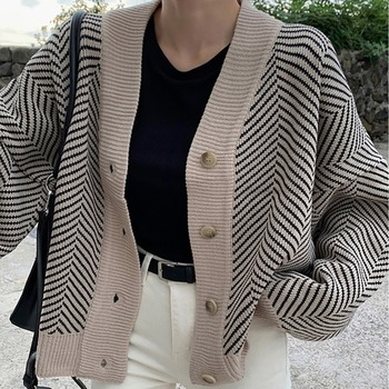 2020New  Spring  Knitted Striped Cardigan Sweater Women Fashion Patchwork Top Long Sleeve Casual Outwears V Neck Buttons Coat twist front v neck striped top