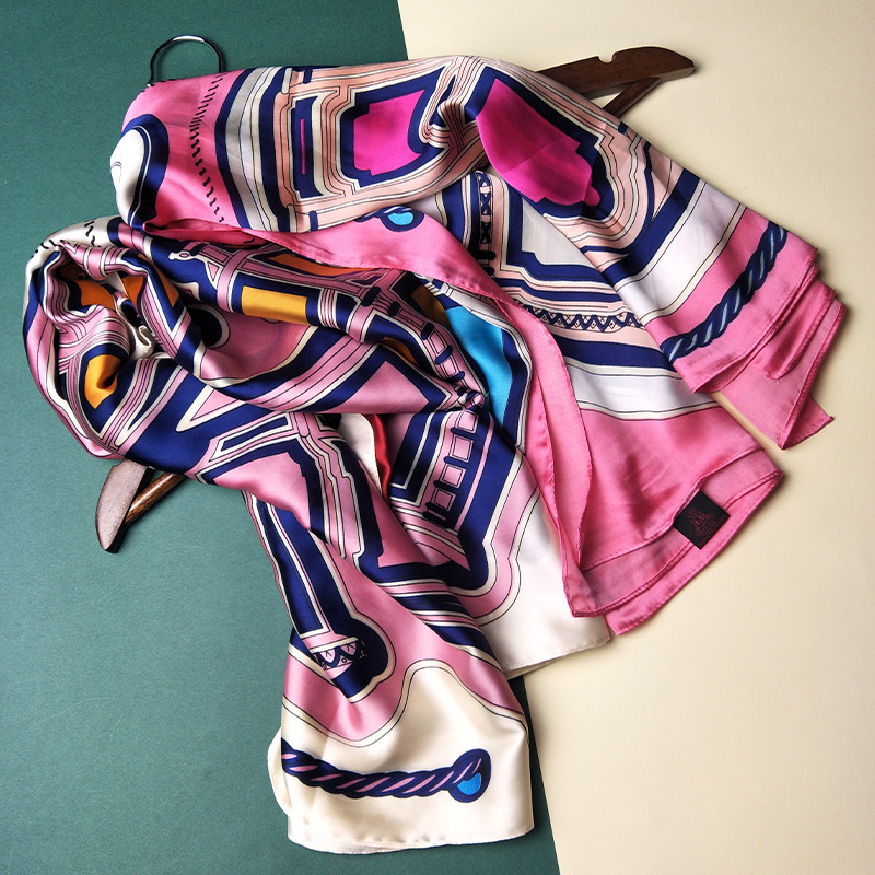 Fashion Print Kerchief Twill Silk Hair Scarf For Women Bandana Head Scarfs Female 90*90cm Square Neck Scarves For Ladies Spring