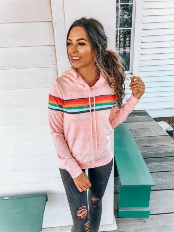 Hoodies Women 2019 Autumn Rainbow Print Women Hoodies Women Long Sleeve Tops Hoodies Mujer Warm Winter Jacket Women Tracksuit