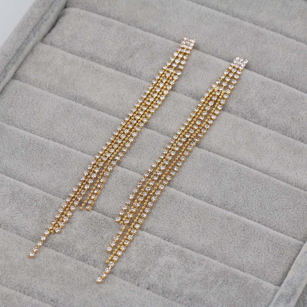 TREAZY-Beautfiul-Silver-Color-Crystal-Super-Long-Tassel-Bridal-Earrings-Diamante-Rhinestone-Wedding-Party-Long-Dangle