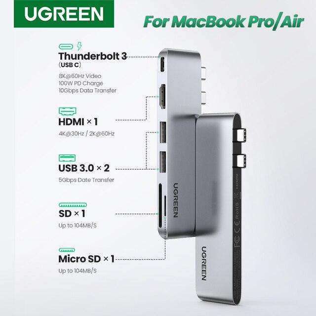 Ugreen USB Type C концентратор с двумя USB C на мульти USB 3,0 HDMI для MacBook Pro Air адаптер Thunderbolt 3 док станция USB C 3,1 порт Type C концентратор